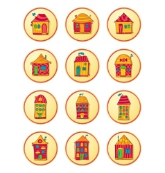 Round icons with cute cartoon-style houses vector image