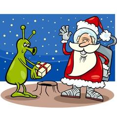 Santa claus and alien cartoon vector