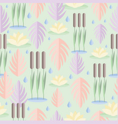 Seamless pattern with wetland plants reed water vector