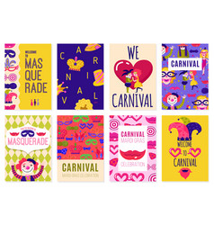 Set of eight carnival posters vector