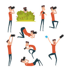 set of photographers in different situations vector image