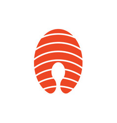 simple piece of salmon icon vector image vector image