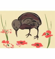 sparrow and poppy vector image