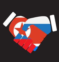 Symbol sign handshake North Korea and Russia vector image vector image