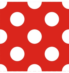 Tile pattern white polka dots red background vector image vector image