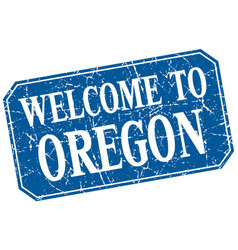 Welcome to oregon blue square grunge stamp vector