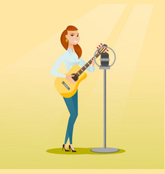 Woman singing into a microphone vector