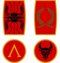 set of ancient shields vector image