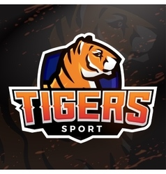 Tiger shield sport mascot template premade vector