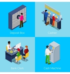 Isometric bank services concept deposit box vector