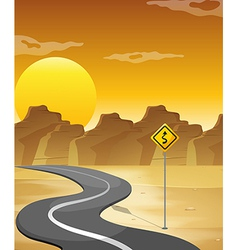 A curved road in the desert vector