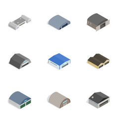 Storage building icons isometric 3d style vector