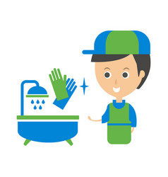 cleanup service worker and clean bathroom tub vector image