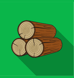 Stack of logs icon in flat style isolated on white vector