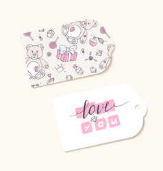 Valentines day paper tags with hand lettering sign vector