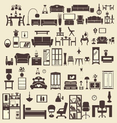Creative design furniture icons set interior- illu vector