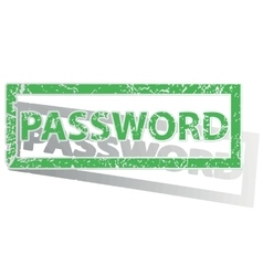 Green outlined password stamp vector