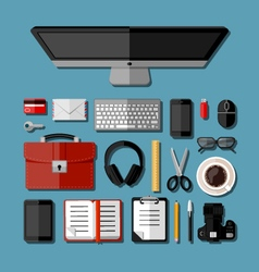 Modern business office workplace vector