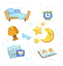 Child bedroom objects set vector