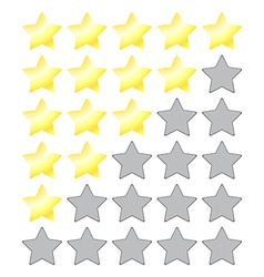 Star rating with gold stars and a gray empty vector