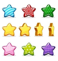 Cartoon colorful glossy stars set game animation vector