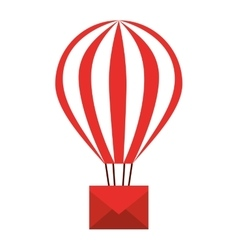 Envelope in balloon air isolated icon design vector