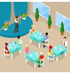 Isometric restaurant interior with people vector