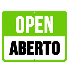 Aberto sign in black and green vector image
