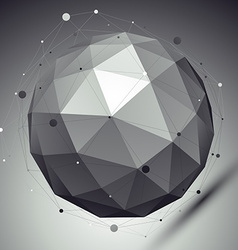 Abstract grayscale 3d sphere with asymmetric grid vector