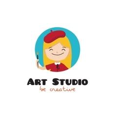 cartoon kids art studio logo vector image vector image
