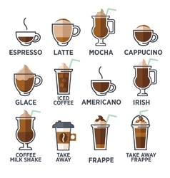Coffee types or kinds set vector