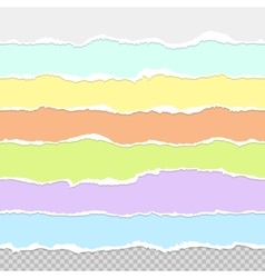 Collection of seamless paper rips multi colored vector