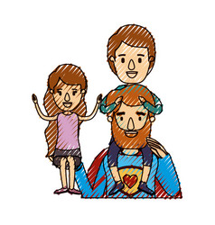 Color crayon stripe caricature half body super dad vector