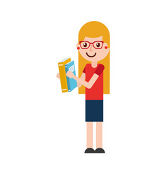 cute school girl with glasses holding book student vector image