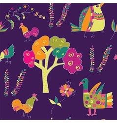 Ethnic seamless pattern with birds vector