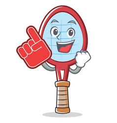 Foam finger tennis racket character cartoon vector