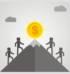 four businessman is climbing to get the gold coin vector image vector image