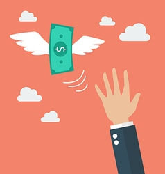 Hand catching a money fly vector image