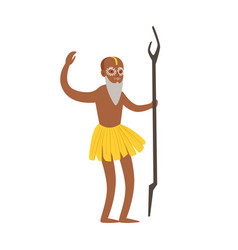 Indian shaman character in a loincloth performing vector