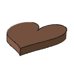 isolated chocolate heart design vector image
