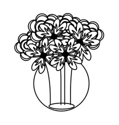 Mason jar with flowers isolated icon vector