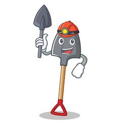 Miner shovel character cartoon style vector