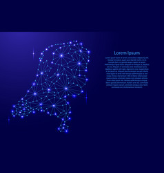 Netherlands map of polygonal mosaic lines network vector