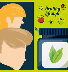 People with natural pills treatment vector