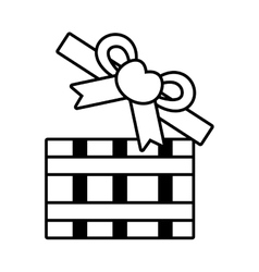 Pictogram open gift box bow heart design vector