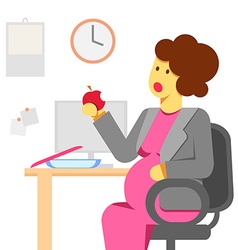 Pregnant woman eating in the office vector