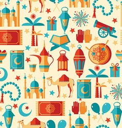 Ramadan kareem icons set of arabianseamless vector
