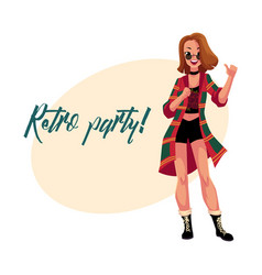 retro disco party invitation poster with woman in vector image vector image