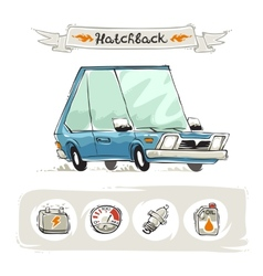 Retro Small Hatchback Set vector image vector image