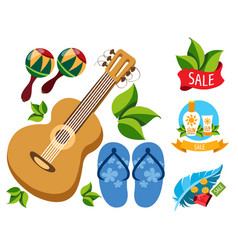 sale guitar maracas beach flip flops feather vector image vector image